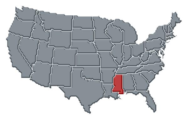 karte der vereinigten staaten mississippi hervorgehoben
