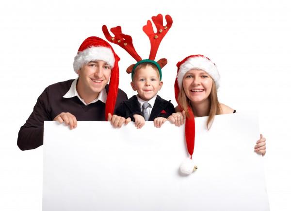 weihnachtsfamilie mit banner