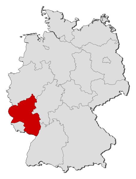 karte von deutschland rheinland pfalz hervorgehoben
