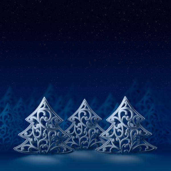 drei weisse weihnachtsbaeume