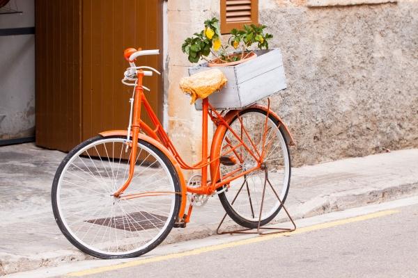 damen fahrrad in orange mit blumen