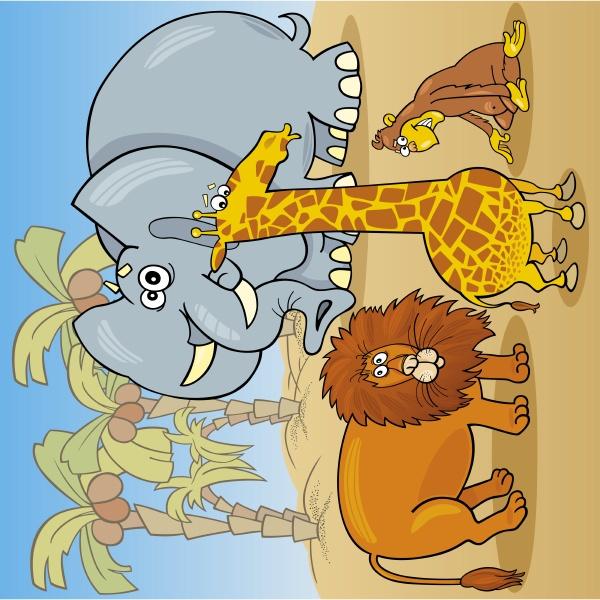 nette afrikanische tiere cartoon illustration