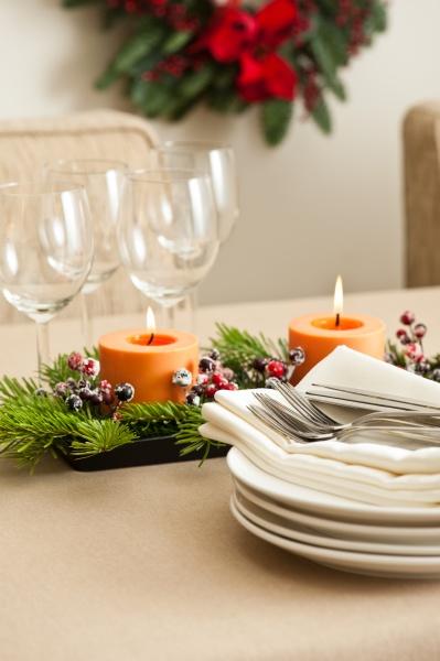 christmas dinner gedeckten tisch