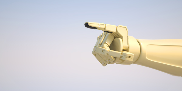 roboter gibt befehl mit seinem zeigefinger