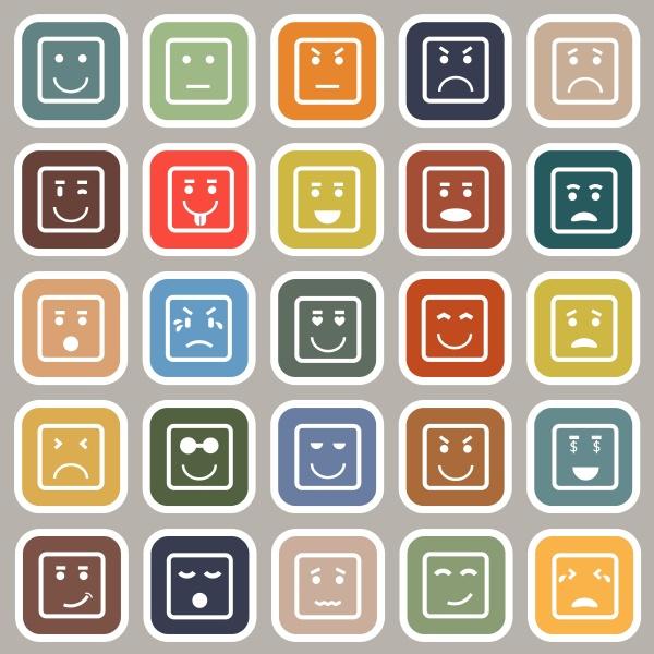 square gesicht flache symbole auf grauem