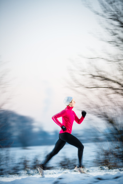 winter, running, , , young, woman - 12595892