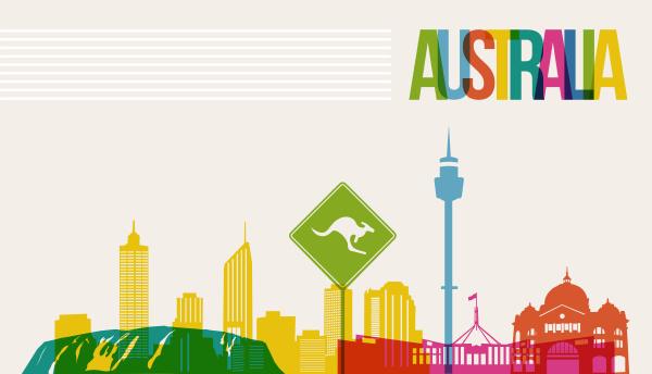 reise australien ziel wahrzeichen skyline hintergrund