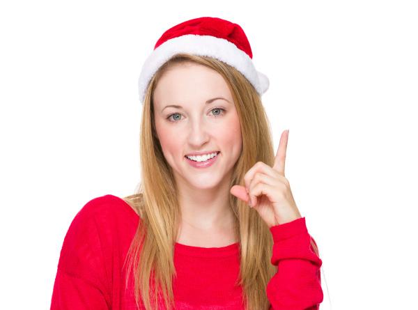 weihnachtsfrau denken idee