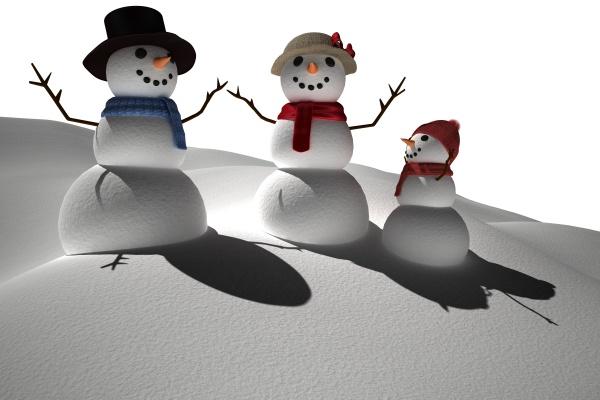 digital erzeugten weissen schnee familie