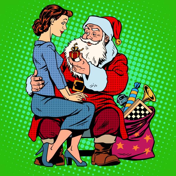 weihnachtsgeschenk weihnachtsmann und ein schoenes maedchen