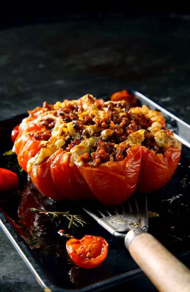 savory stuffed ripe tomato