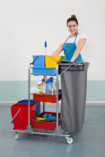 happy young female janitor