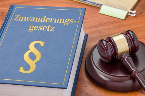gesetzbuch mit richterhammer zuwanderungsgesetz