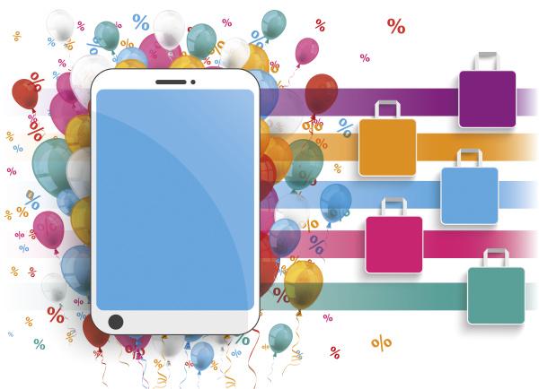 smartphone mit bunten luftballons einkaufstaschen und