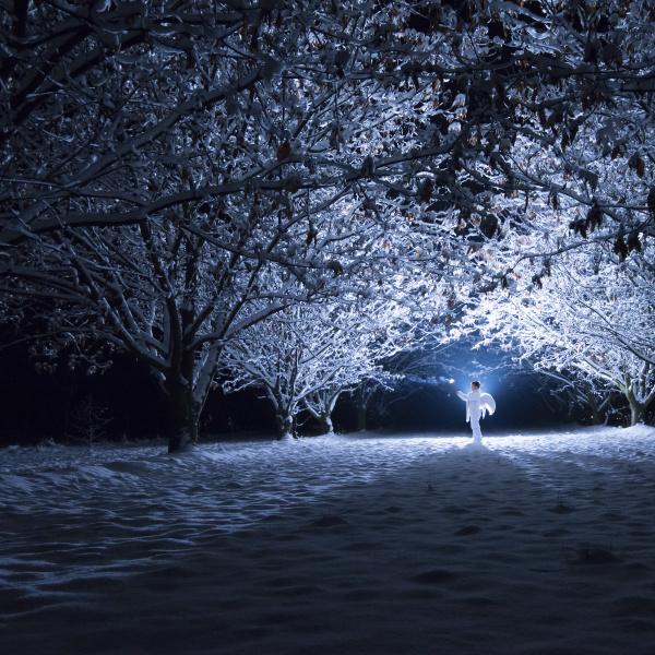kinder mit engelsfluegeln stehen unter schneebedeckten