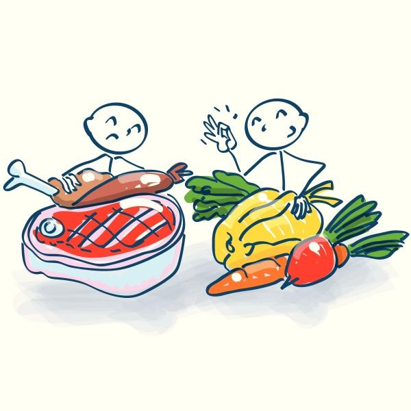 strichmaennchen mit fleisch und gemuese