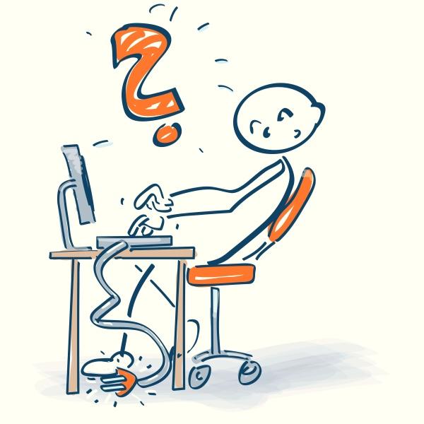 strichmaennchen am schreibtisch mit computer