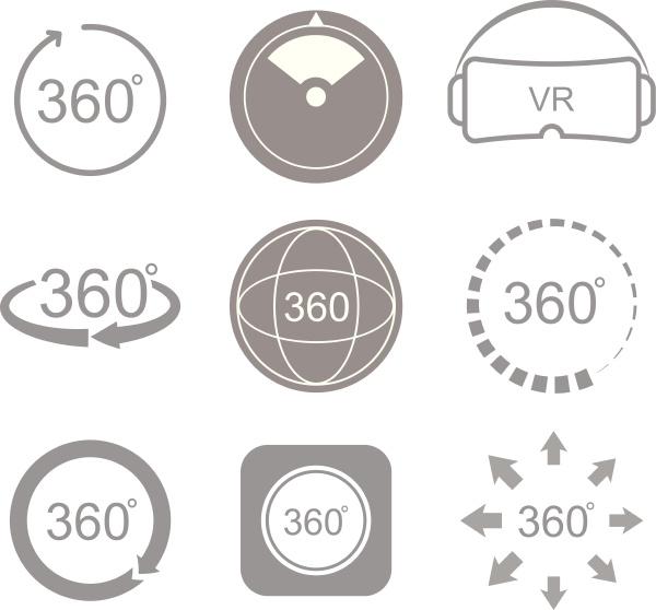 360 grad ansichtszeichensymbol
