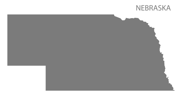 nebraska usa map grey