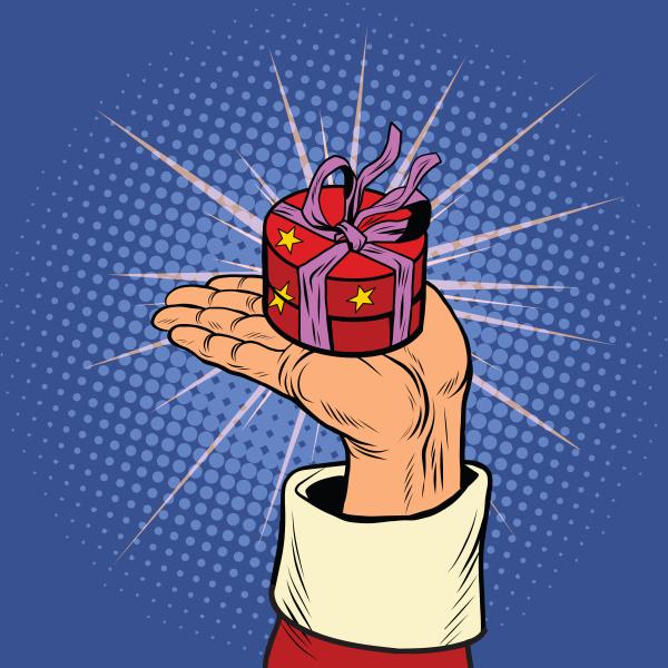 hand des weihnachtsmanns mit runder geschenkbox