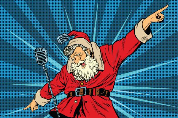 weihnachtsmann superstar saenger auf der buehne