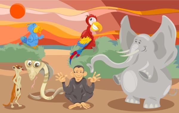 tiergruppe zeichentrickfilm