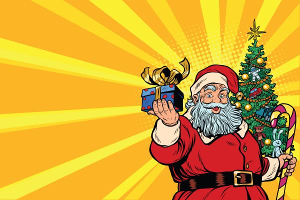 weihnachtsmann weihnachtsbaum und geschenk kopieren den