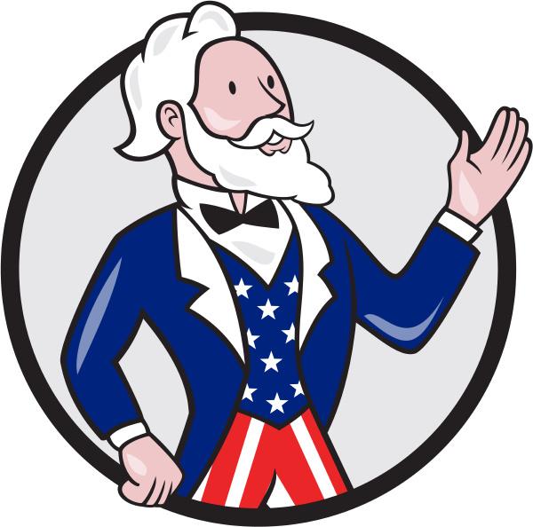 uncle sam american waving hand circle