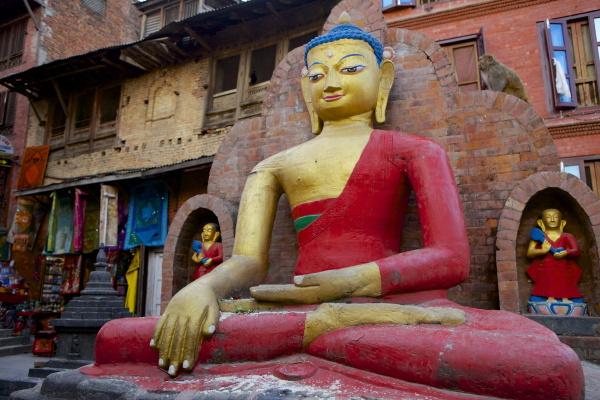buddha statue swayambhunath affentempel