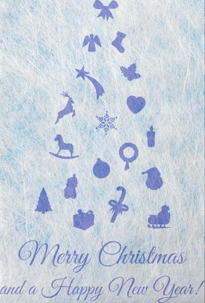 abstrakter weihnachtsbaum aus weihnachtlichen motiven weihnachtskarte