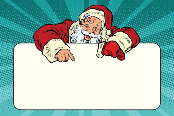 weihnachtsmann charakter zeigt auf dem banner