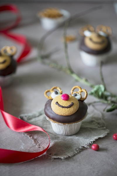 reindeer cupcakes fuer weihnachten