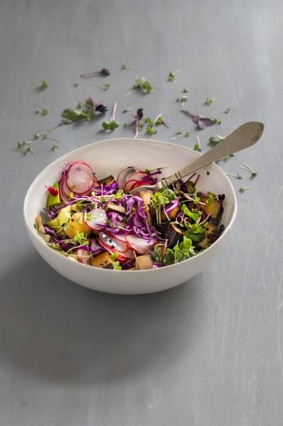 salat mit gebratenem tofu radieschen rotkohl