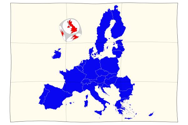 landkarte von europa mit brexit wuerfel