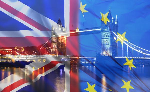 britische flagge eu flagge und tower