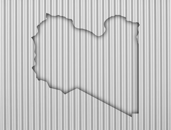 karte von libyen auf wellblech