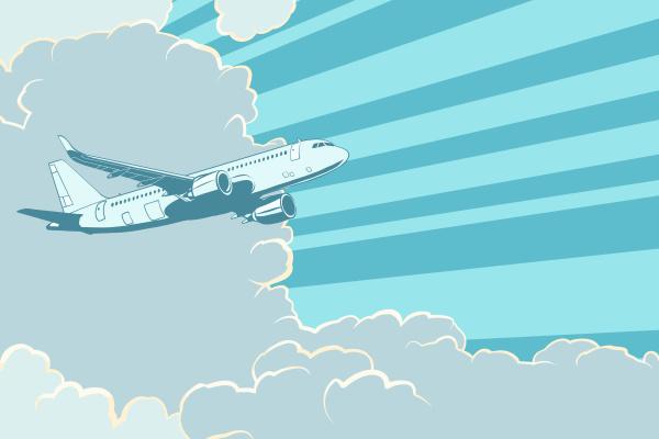 retro flugzeugfliegen in den wolken flugreisen