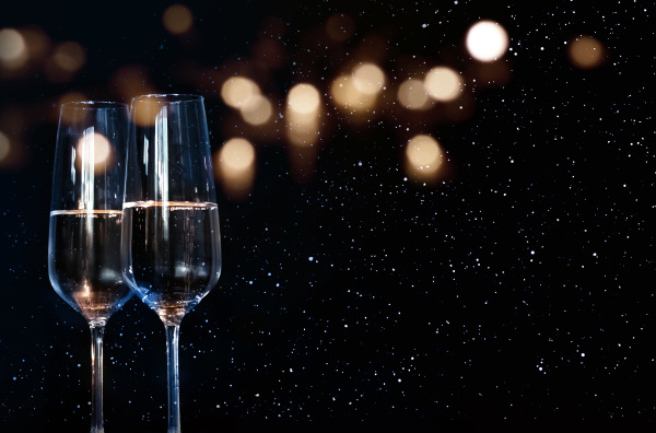 sparkeling wine with starry sky and