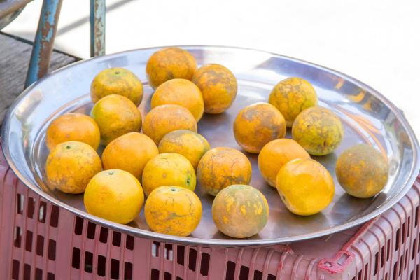 orange im tablett edelstahl auf street