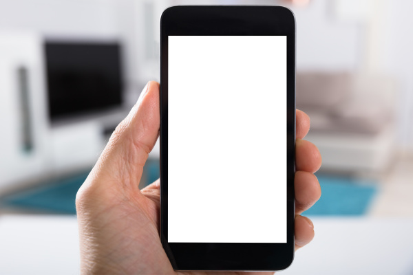 person holding smartphone mit blanker white