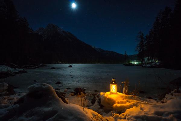 abend am hintersee bayern deutschland