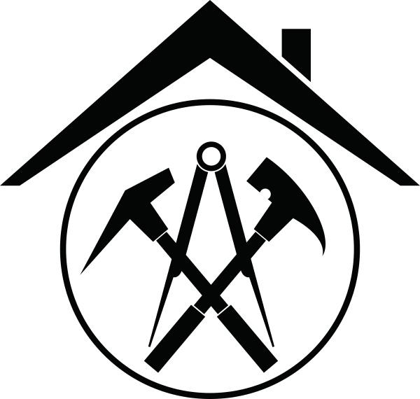 werkzeuge und dach aufkleber label dachdecker