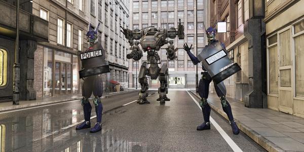 futuristische roboterpolizei die in der stadtstrasse