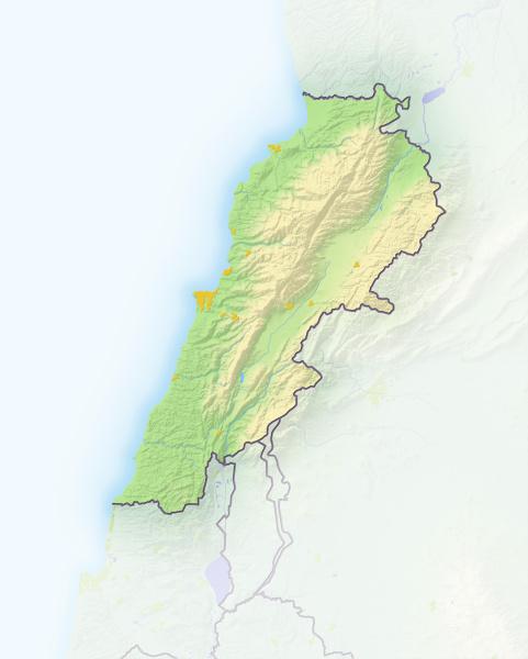 libanon schattierte reliefkarte asien