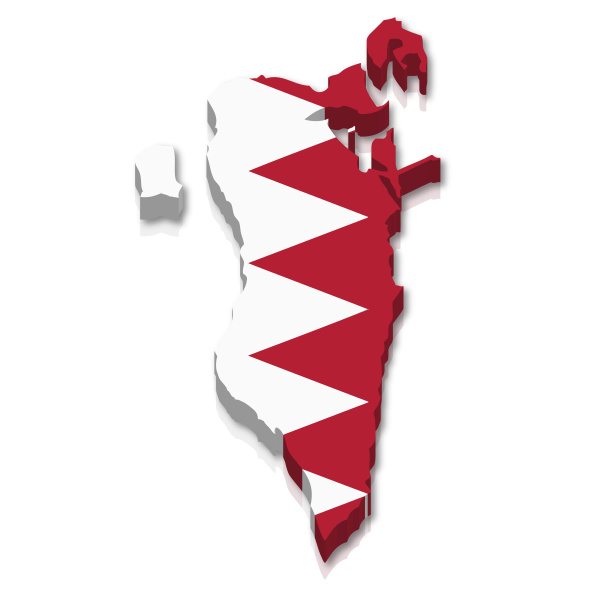 umriss und flagge von bahrain
