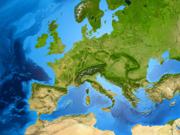 erdkugel zeigt europa 3d illustration