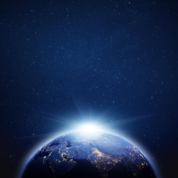 planet erde sonnenaufgang 3d rendering