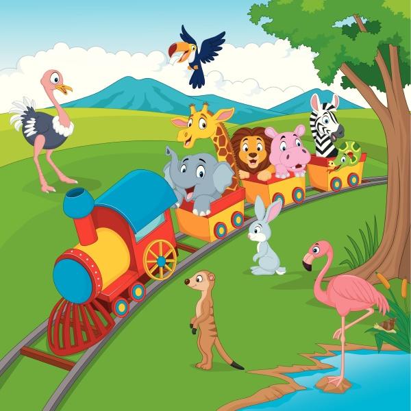 karikaturenzug auf eisenbahn mit wildtieren