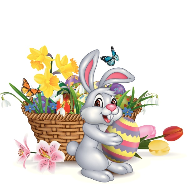 frohe ostern hintergrund mit kaninchen halten