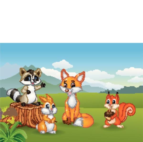 naturszene mit verschiedenen tieren